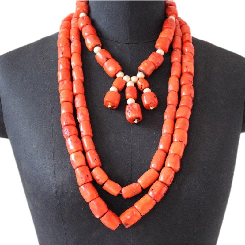 4 ubijoux bijoux africains 13-15mm perles de corail originales ensemble de bijoux pour les femmes nigérianes 3 couches Edo mariée mariage traditionnel