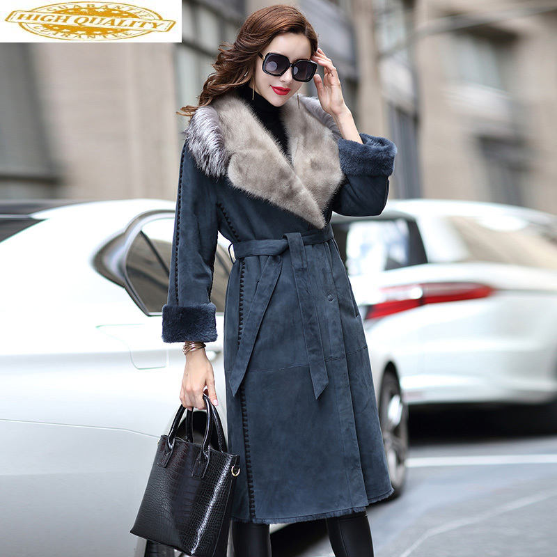 Winter Coat Women Double Faced Real Fur Coat Female Luxury Natural Wool Fur Coats Mink Fur Collar Real Leather Jacket MY