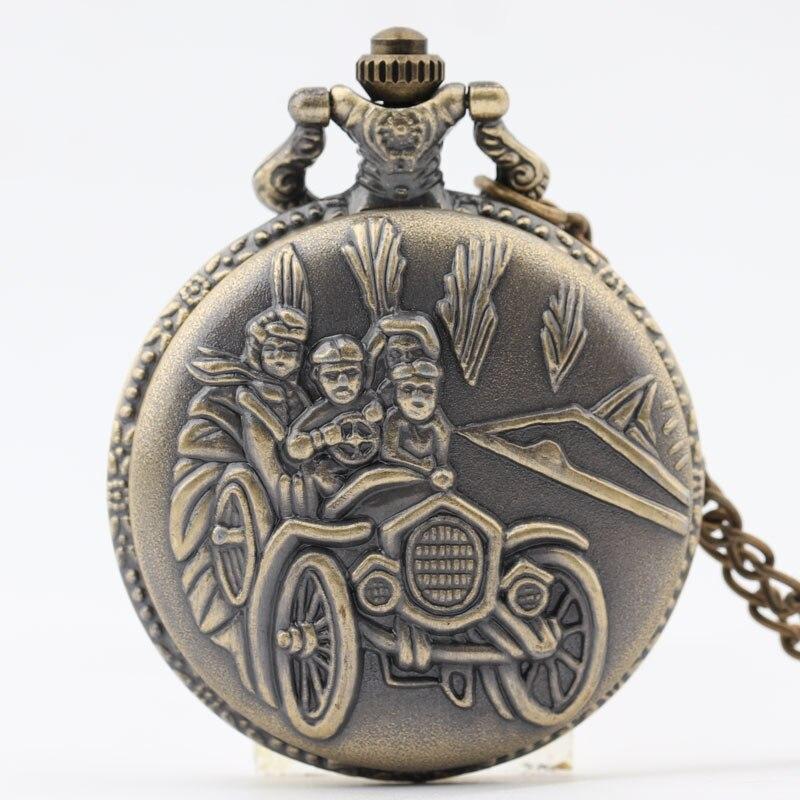 Pocket & Fob Watch Vintage Bronze Car Desgin  Quartz Pocket Watch Necklace Pendant Watch Chain Xmas Watch Gift