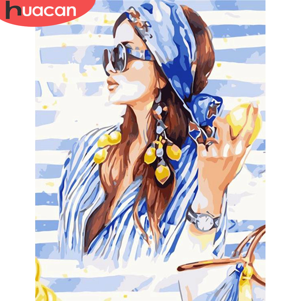 HUACAN DIY Pictures By Numbers Girl Portrait HandPainted Kits Drawing Canvas Oil Painting Home Decoration Art Gift