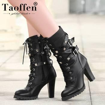 TAOFFEN Ladies shoes Women boots High heels Platform Buckle Zipper Rivets Sapatos femininos Lace up Leather