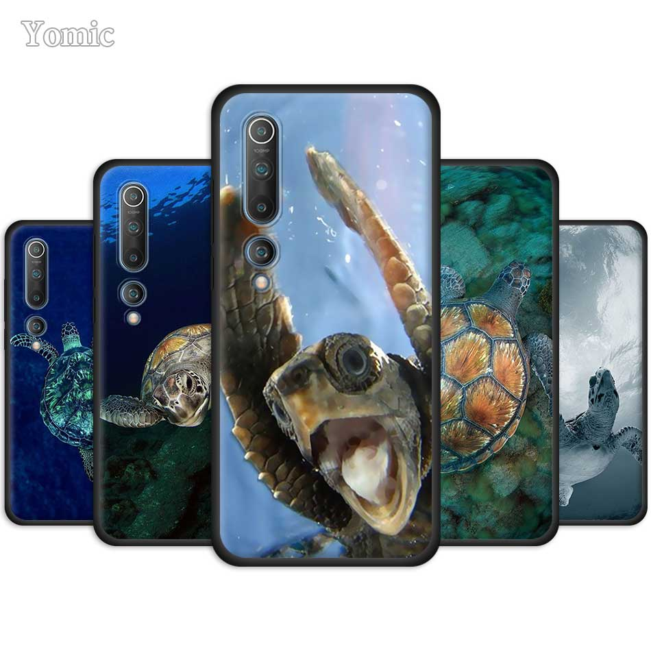 Black Case For Xiaomi Mi Note 10 9 SE 9T CC9 Pro 5G A3 A2 8 Lite Poco X2 Soft Silicone Phone Cover Sea Turtle Aqua