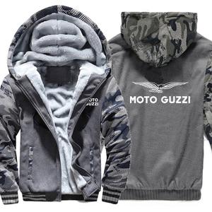 Image 4 - Moto Guzzi bluzy z kapturem kamuflaż rękaw kurtka z kapturem na zamek zima polar Moto Guzzi bluza
