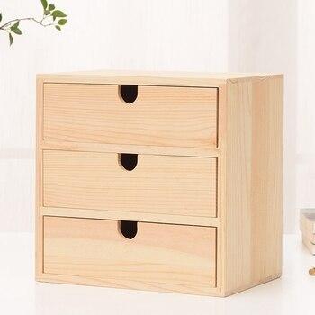 Dekoration Speicher Holz Kleine Schublade 3 Schichten Natürliche Holz Schublade Nachttisch