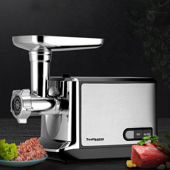 18 electric meat sausage stuffer stainless steel meat grinder vegetable potato fruit cutting machine commercial sausage filler Electric Meat Grinder Fully Automatic Stainless Steel Multifunction Chopper Slicer Sausage Stuffer Meat Mincer Food Processor