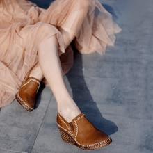 Artmu Original 2019 Autumn New Retro Thick Bottom Wedge Heels Women Shoes Genuine Leather High Hemp Handmade 623-5