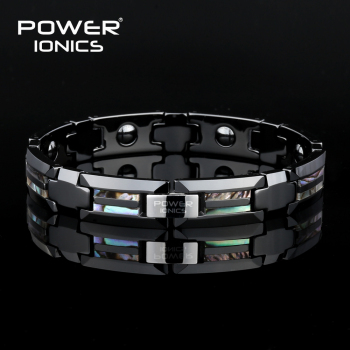 Power Ionics Magnetic Bracelet Luxury Natural Shell Black  Ceramic Bracelets Bangles Unisex Wristband Luxury Jewelry Gifts