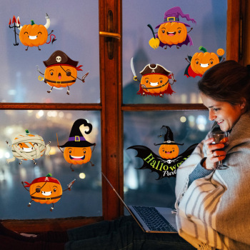 Halloween stickers Pumpkin Art Wall Sticker Home Decoration Detachable Decal Cartoon Wallpaper Living room