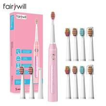 Fairywill – brosse à dents électrique sonique FW-507 pour adulte, avec minuterie, chargeur USB, 5 modes, kit de têtes de rechange