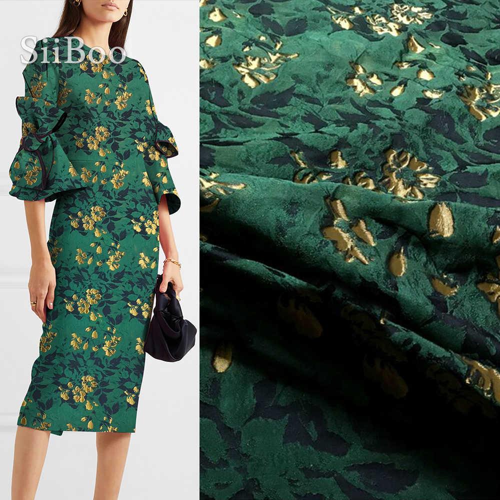 アメリカのスタイル緑とゴールドフローラルジャカード生地ドレスコート秋春ジャカード組織 tecidos 布 SP4531