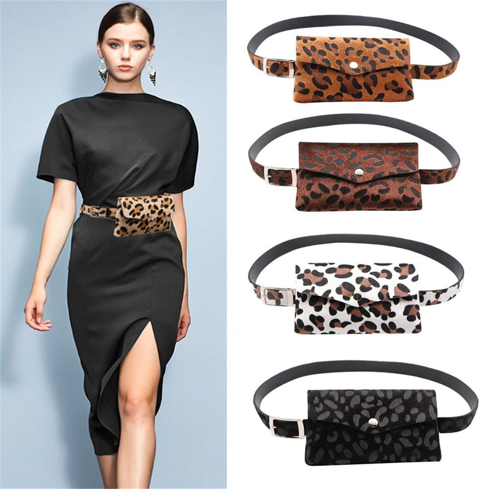 Women Leopard Horse Hair Waist Bag Dual-use Mobile Phone Bag Purse With Removable Leather Belt Waist Bag Free Ship