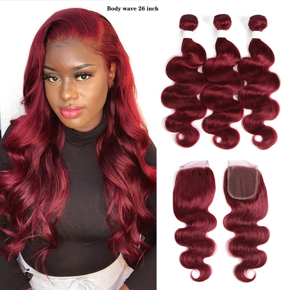 Body Wave Bundles With Closure KEMY 99J/Burgundy Brazilian Hair Weave Bundles Non-Remy 3PCS Red Bundles With Closure