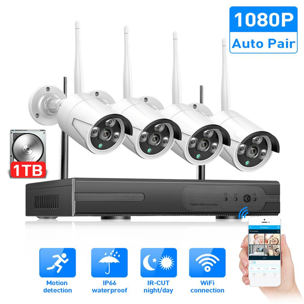 Wireless CCTV System 720P 1080P 2MP NVR IP IR-CUT Outdoor CCTV Camera IP Security System Video Surveillance Kit