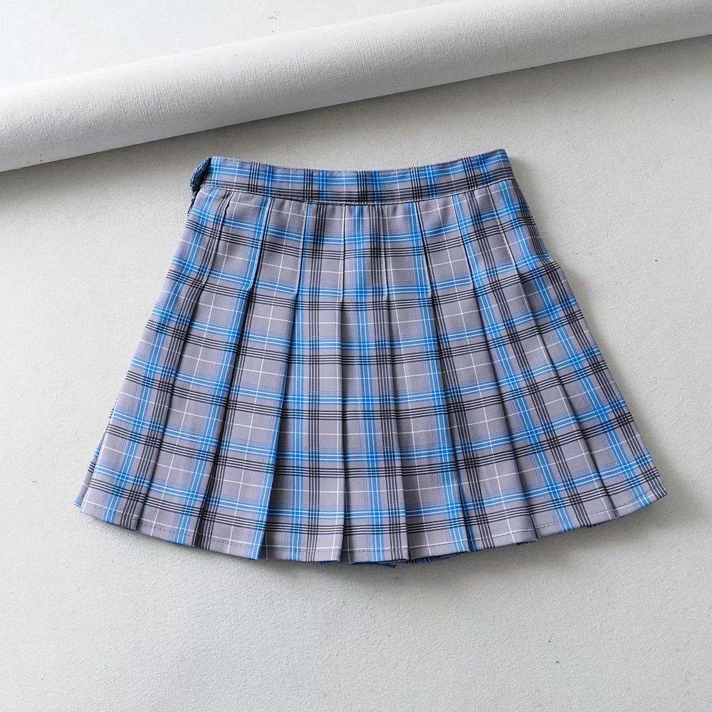 Korean-style CHIC High-waisted Four Seasons Wearable Pleated Skirt With Safety Shorts High-waisted Plaid Skirt Short Skirt