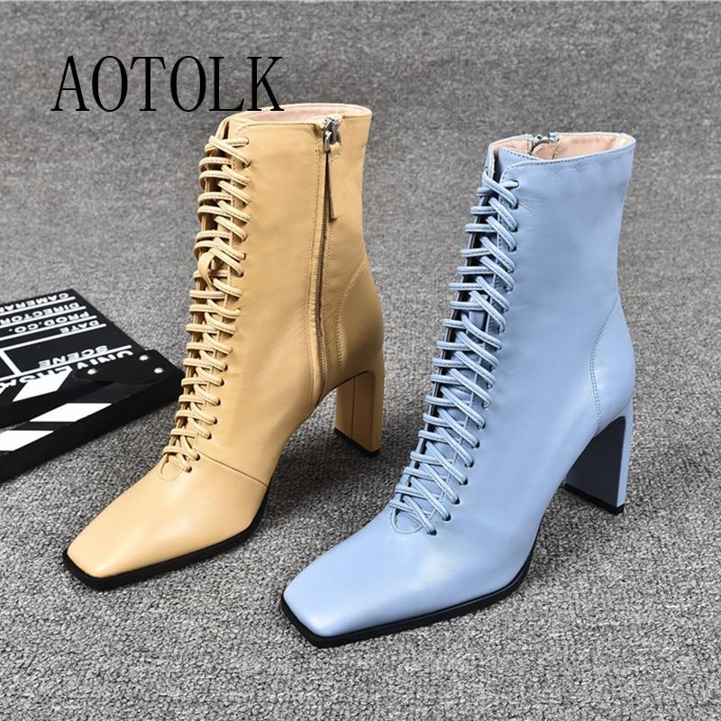 Женские кожаные ботинки, модные ботинки на высоком каблуке, зимние женские ботильоны на шнуровке, ботильоны с квадратным носком, женская обувь на каблуке|Полусапожки|   | АлиЭкспресс - Женская обувь
