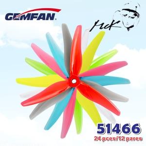 Image 1 - 24 adet/12 çift Gemfan 51466 5 inç 3 bıçak/tri blade pervane sahne CW CCW fırçasız motor FPV pervane FPV yarış drone için