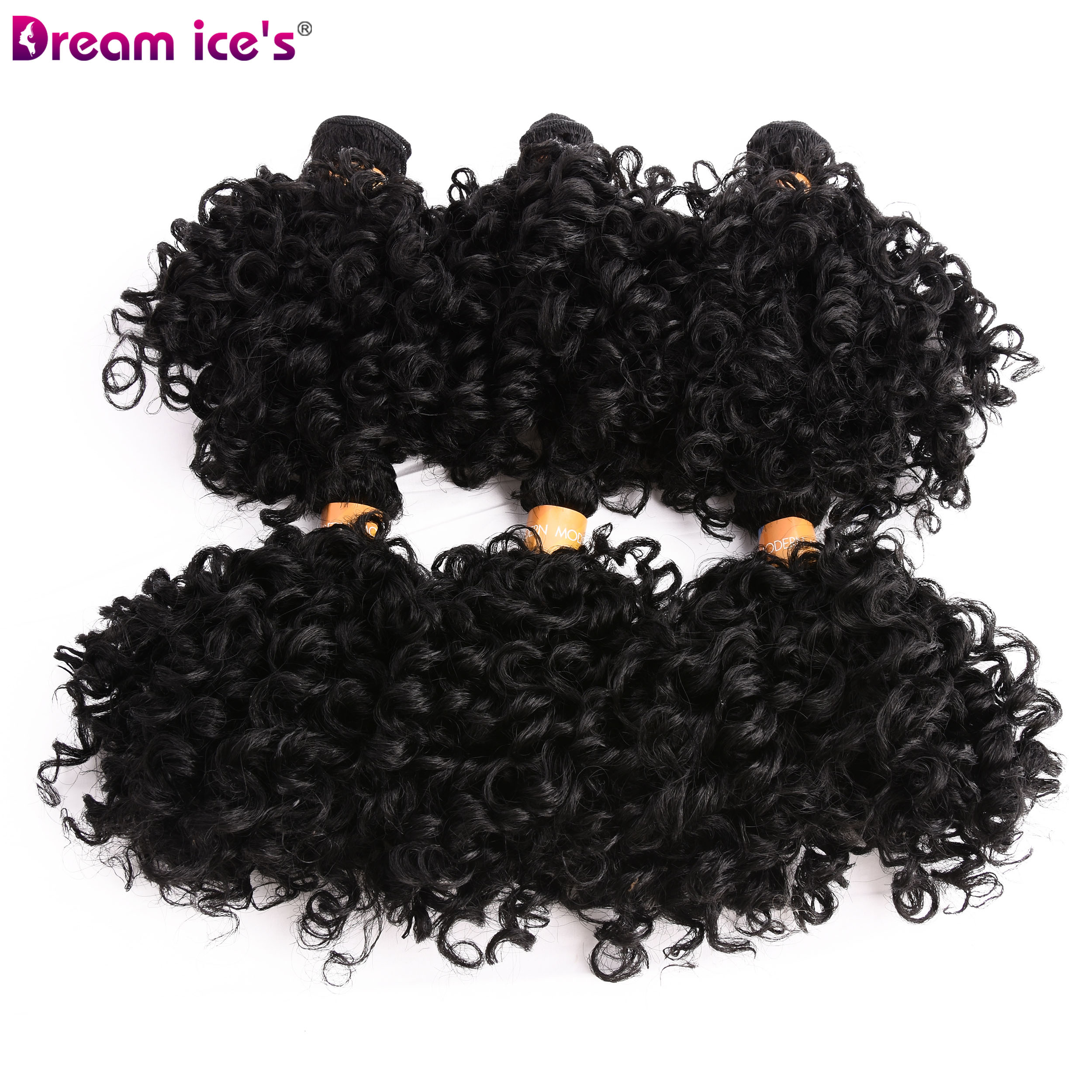 Hair-Bundles Afro Double-Weft Synthetic Curly Women 100%Heat-Resistant for Dream Ice's title=