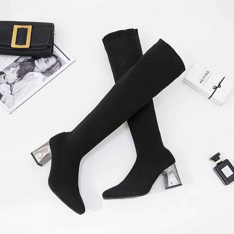 Women Boots 2019  Keep Warm Winter Shoes Pointed-Toe Elastic Socks Long Boots Over Tthe Knee Boots Square Heel Thigh High Boots