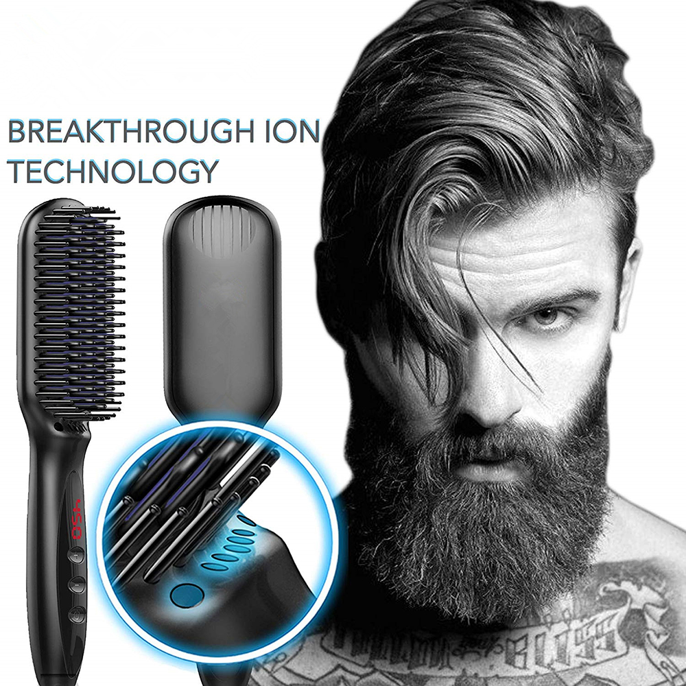 Men Hair Straightener Beard Straightener Flat Iron Comb For Beard Professional Women Hair Straightening Iron Comb Styling Tools