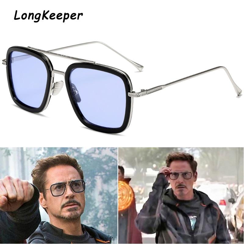 luxury Fashion Tony Stark Style for women Sunglasses Men Square Brand Design Sun Glasses Oculos Retro male iron Man oculos de