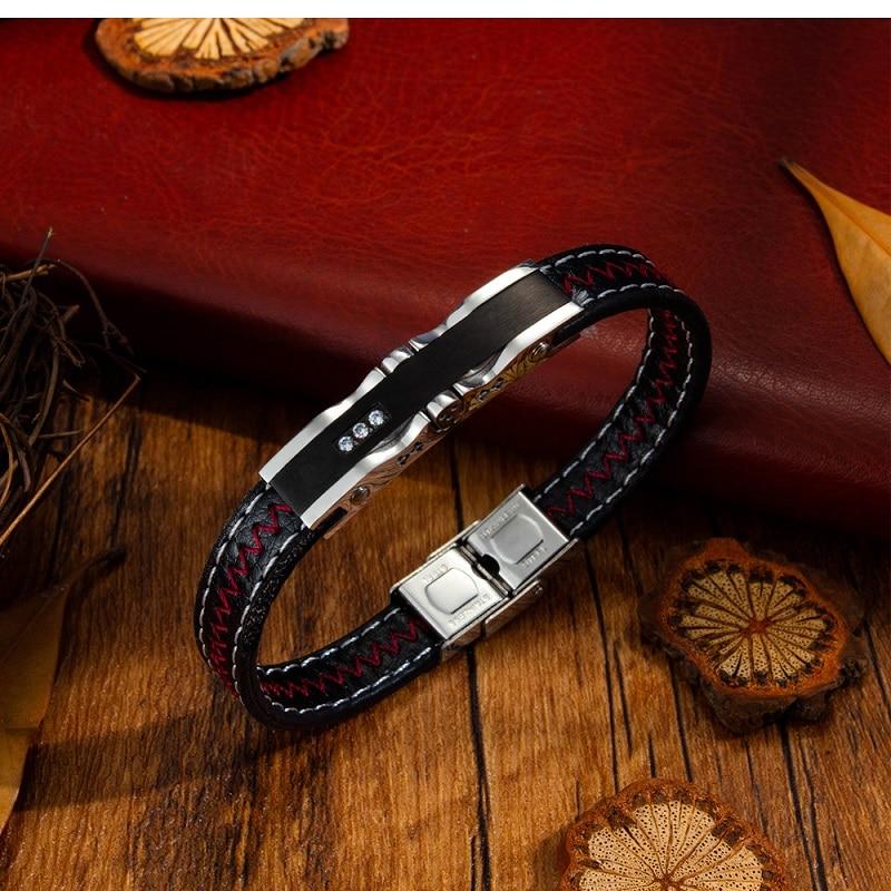Trendy Jewelry Men Black Leather Rope Zircon Bracelet Adjustable Bracelets Bangles Punk Male Wrist Band Pulsera Hombre