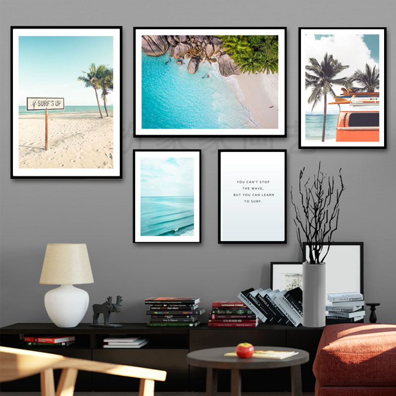 Landscape Poster Beach Posters Scandinavian Wall Art Canvas Painting Nordic Poster Wall Pictures For Living Room Decoration