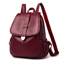 Backpack female leather 2020 school backpack for girl pommax b19 009 female Black Fashion Bag