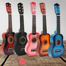 21 pollici di Nylon Colorato 6 Corde Ukulele Mini Chitarra Strumento Musicale Soprano Ukulele Tiglio Acustica Giocattolo Per Bambini Regali