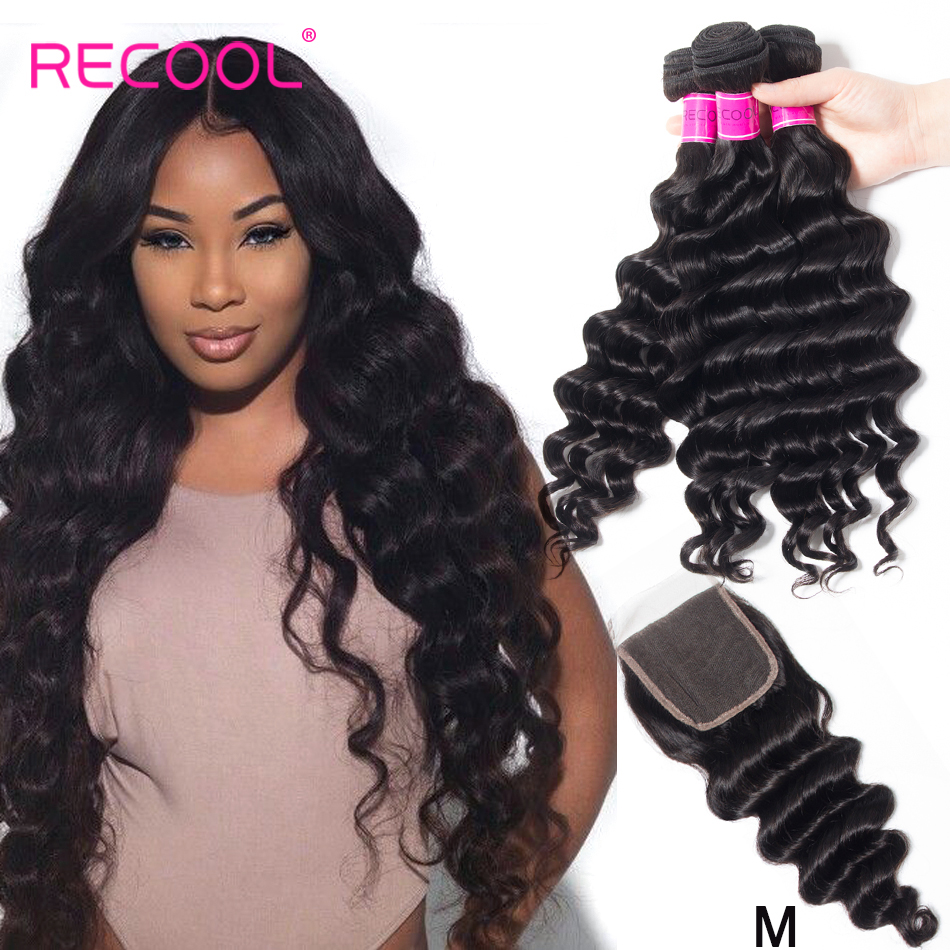 Recool Hair Loose Deep Wave Bundles With Closure Remy Brazilian Hair Bundles With Closure Human Hair Innrech Market.com