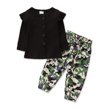 Kids Girl's Long-sleeved Trousers Set Fresh Solid Ribbed Cardigan Tops Camo Bandage Pants Children Spring Autumn Clothing 1-6Y
