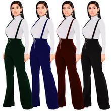 Echoine 여성 바지 높은 허리 대형 라운드 버클 바지 지퍼 플레어 다리 멜빵 스웨트 여성 레트로 Streetwear 레이디