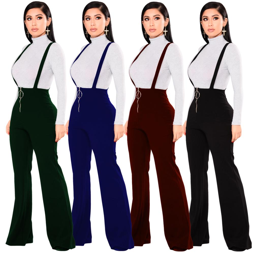 Echoine Women Trousers High Waist Large Round Buckle Pants Zipper Flared Leg Suspenders Sweatpants Female Retro Streetwear Lady