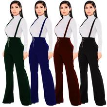 Echoine נשים מכנסיים גבוה מותן גדול עגול אבזם מכנסיים רוכסן התלקח רגל כתפיות מכנסי טרנינג נקבה רטרו Streetwear ליידי