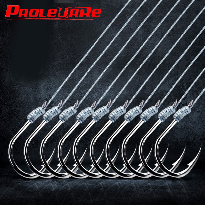 5 Pair PE Line Fishing Hooks With 2  High Carbon Steel Hooks Rigs Swivel Fishing Lures Pesca String Hooks 1#-12#