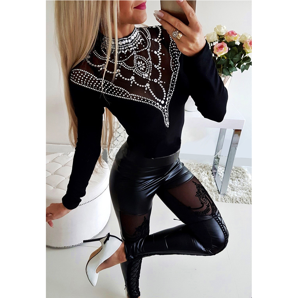 Wipalo 2019 Fashion Autumn Women Wet Look Leather Pants High Waist Tight Legging Stretchy Pencil Pants Female Skinny Black Pants