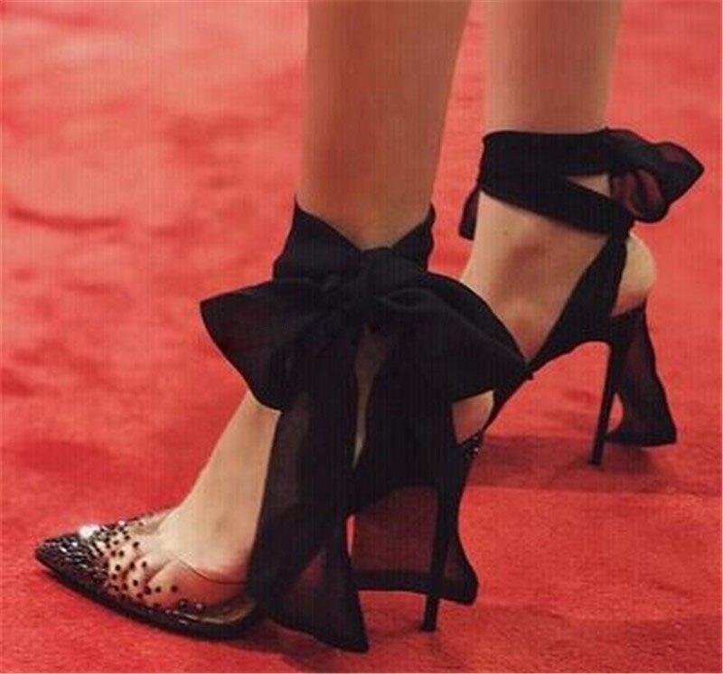 Sexy Women Fashion Pointed Toe PVC Rhinestone Pumps Stiletto Heel Lace Straps Cross Bandage Black Red White Crystal High Heels