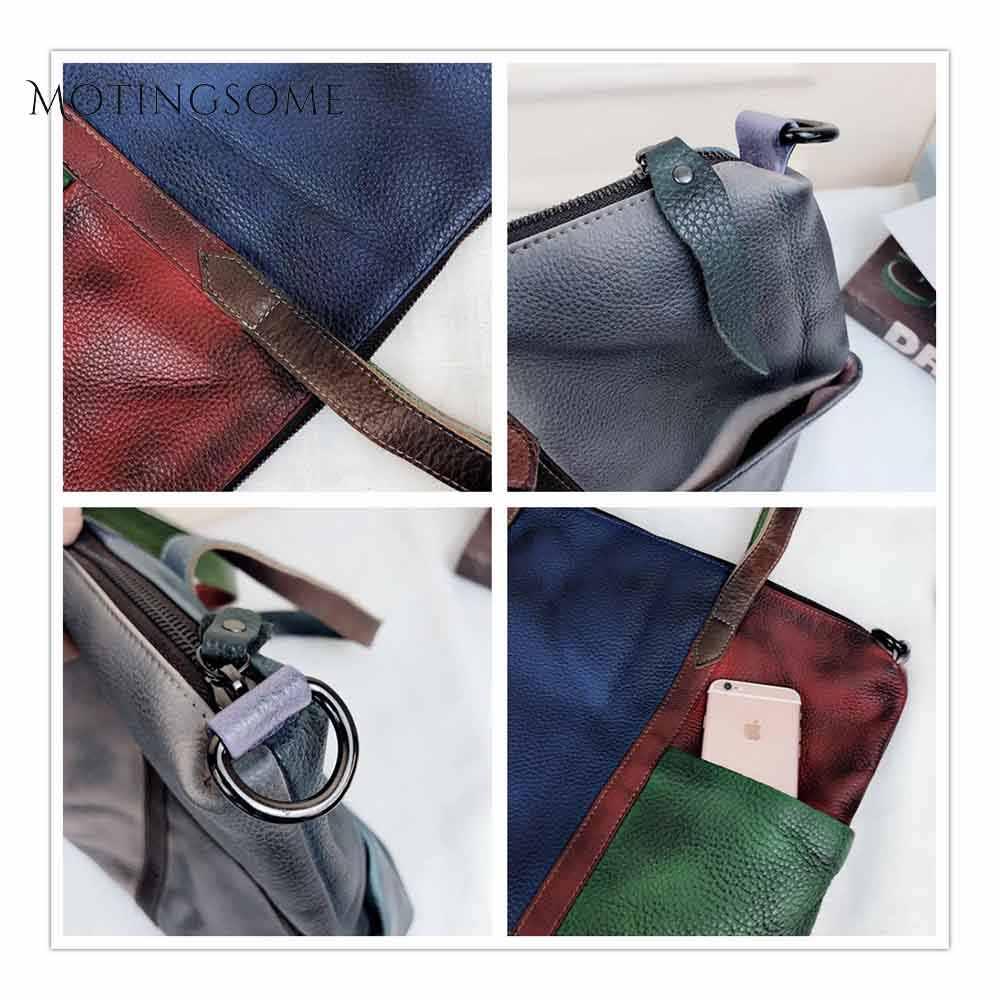 Estilo do vintage genuíno couro das mulheres tote bolsa handwork retalhos shopper saco sacos de moda senhoras sacos de luxo 2019 novo