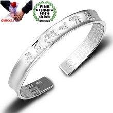 OMHXZJ-pulsera de plata de primera ley con corazones para mujer, brazalete, plata esterlina 999, Thai, ajustable, regalo para parejas, SZ55