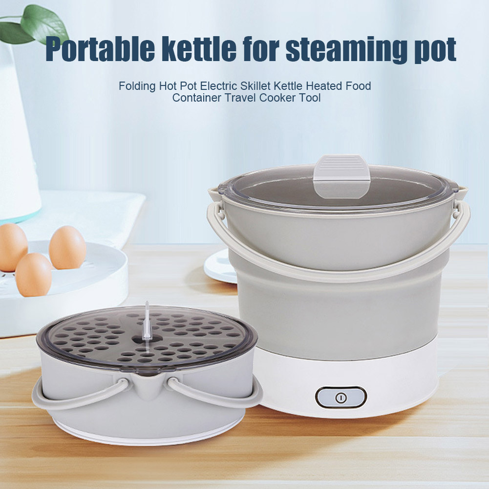 Folding Hot Pot Electric Skillet Kettle Heated Food Container Travel Cooker Tool Dropshipping FAS