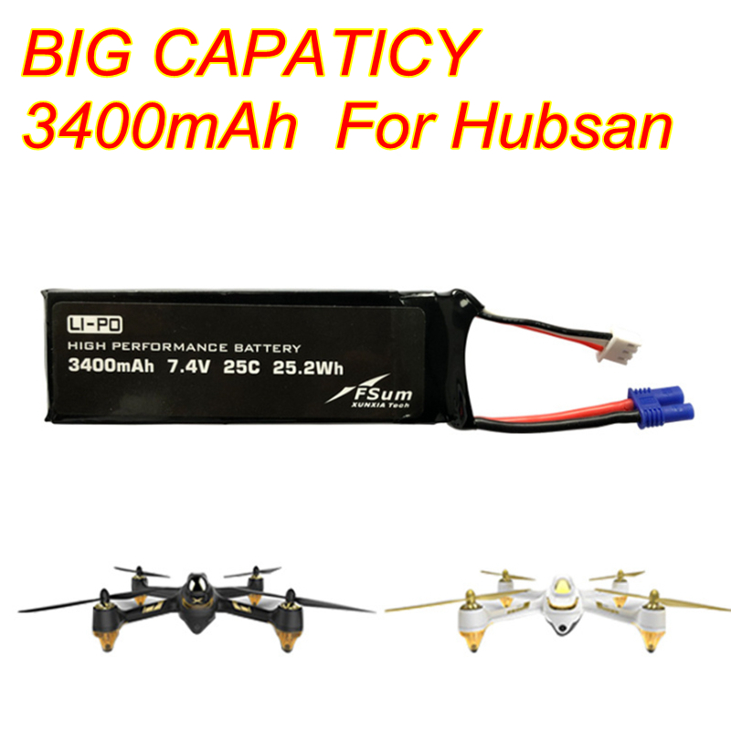 Upgraded 7.4V 3400mAh 25C Lipo Battery For Hubsan 501S 501A 501M RC Drone Quadcopter