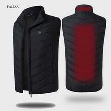 FALIZA USB Heated Vest Men Winter Heating Jacket Male Waistcoat Thermal Warm Clothing Feather Sleeveless Gilet Homme Vests MJ117