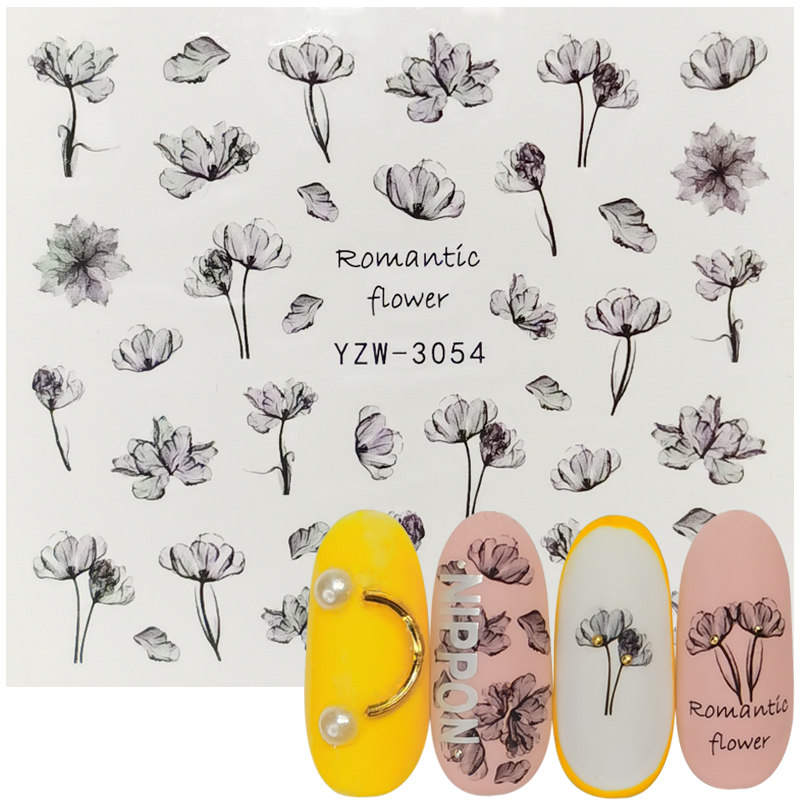 1 Sheet Nails Sticker 3D Flower Leaves Slider Water Transfer Nail Decals For Manicure Nail Art DIY Transfer Sticker Decoration