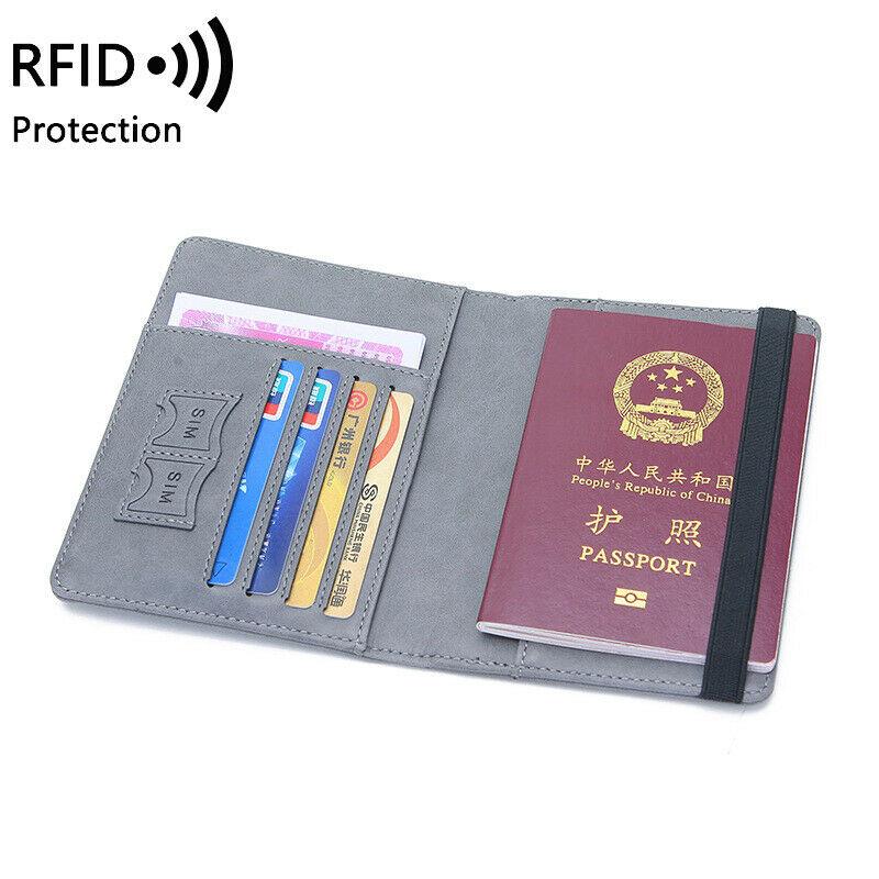 MEKU PU Leather Passport Cover Holder Travel Wallet Case for Men /& Women