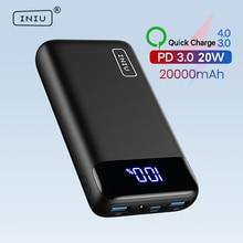 INIU-Banco de energía de 20000mAh, 20W, PD3.0, QC4.0, cargador portátil de carga rápida, paquete de batería con pantalla LED para iPhone 12 Pro Max 8 Samsung