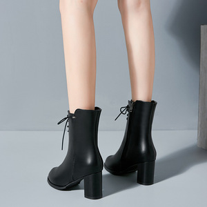Image 4 - Classics Fashion  Women Mid Calf Boots Cross tied Solid Vintage Winter Boots  Round Toe Med   Plus Size Shoes