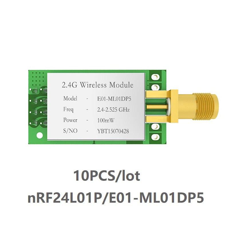 10 piezas/lote E01-ML01DP5 nRF24L01P Módulo Transceptor Inalámbrico SPI 2,4 GHz IoT nRF24L01 + transmisor y receptor Antena Wifi Superbat Yagi 2,4 GHz 16dBi Booster Wireless-G para 802.11b/g/n WLAN RP-SMA Cable de enchufe macho 5m extensión de largo alcance