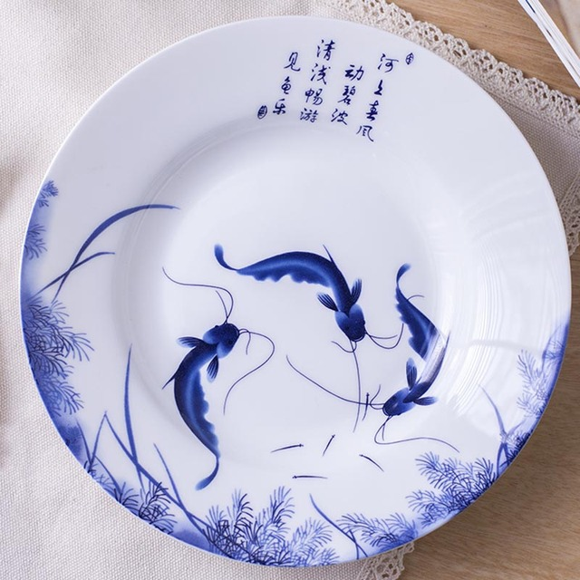 8inch Jingdezhen Bone china Blue and White Porcelain Dinner Plates Chinese Ceramic Food Plate Fish Pattern Round Steak Dish Tray