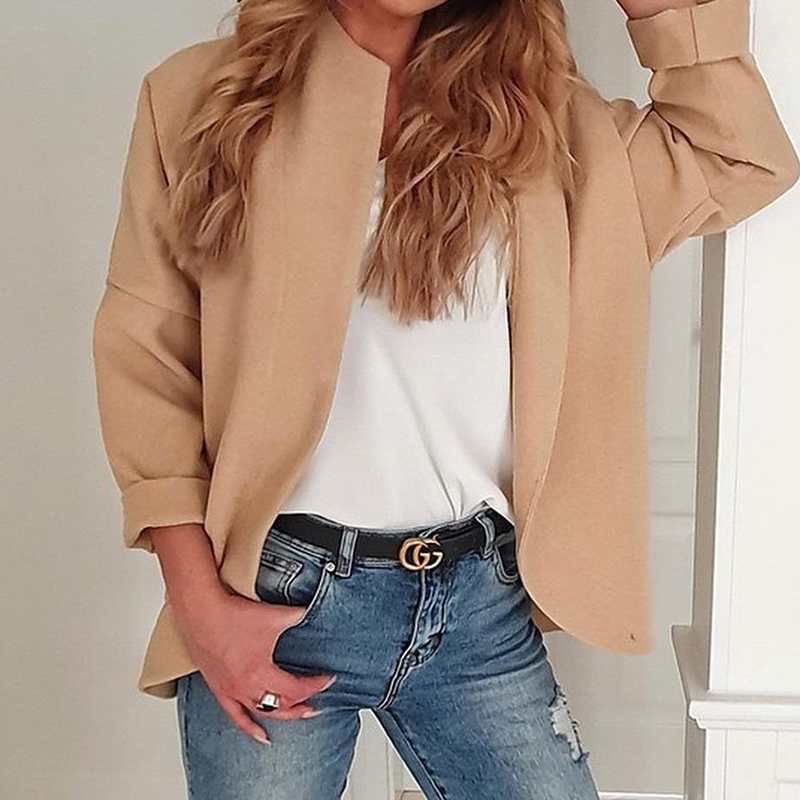 Womens Fall Jacket  Simple OL Style Was Thin Long Sleeve Irregular Casual Cardigan Solid Color Ladies Autumn Clothes Coat