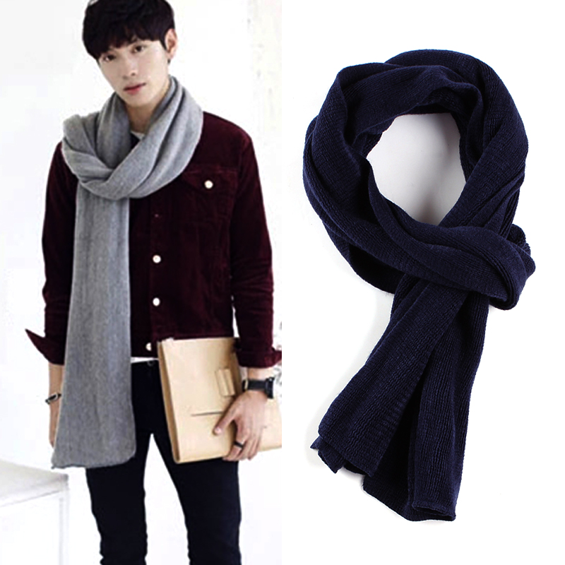 2020 New Solid Knitted Men Scarf Long Wool Boy Neck Scarves Long Winter Warm Stoles Shawls and Wraps Bandana