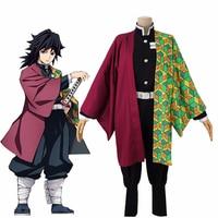 Anime Demon Slayer Kimetsu no Yaiba Tomioka Giyuu Cosplay Costume Japanese Kimono Uniform Women Men Halloween Full Set Costume